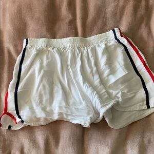 White with blue and red striped shorts BrandyMelv